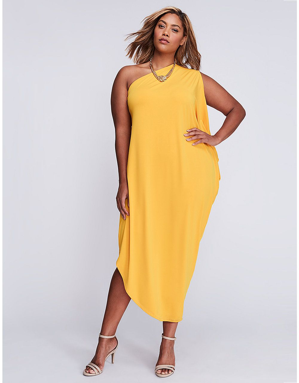 One-Shoulder Draped Maxi Dress | Lane Bryant | Curvy Fashion | Drape ...