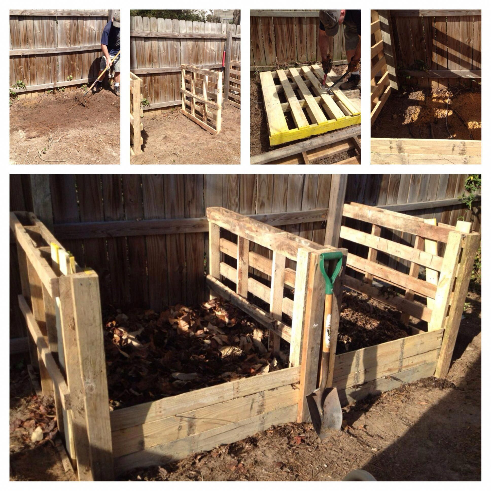 Compost Bin Inside Our Chicken Run Made From Pallets