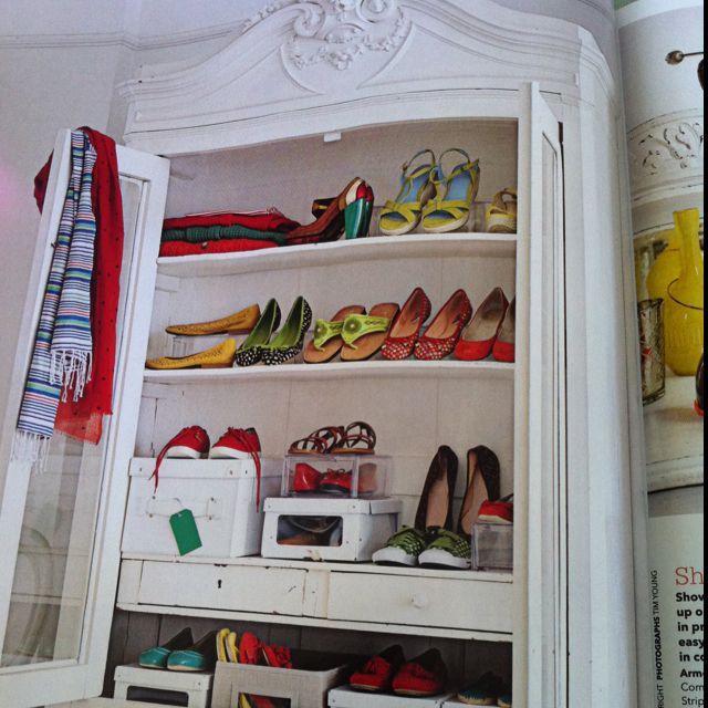 Love love love this glass fronted armoire to showcase a shoeholic prized possessions! Definitely for the new house! :)