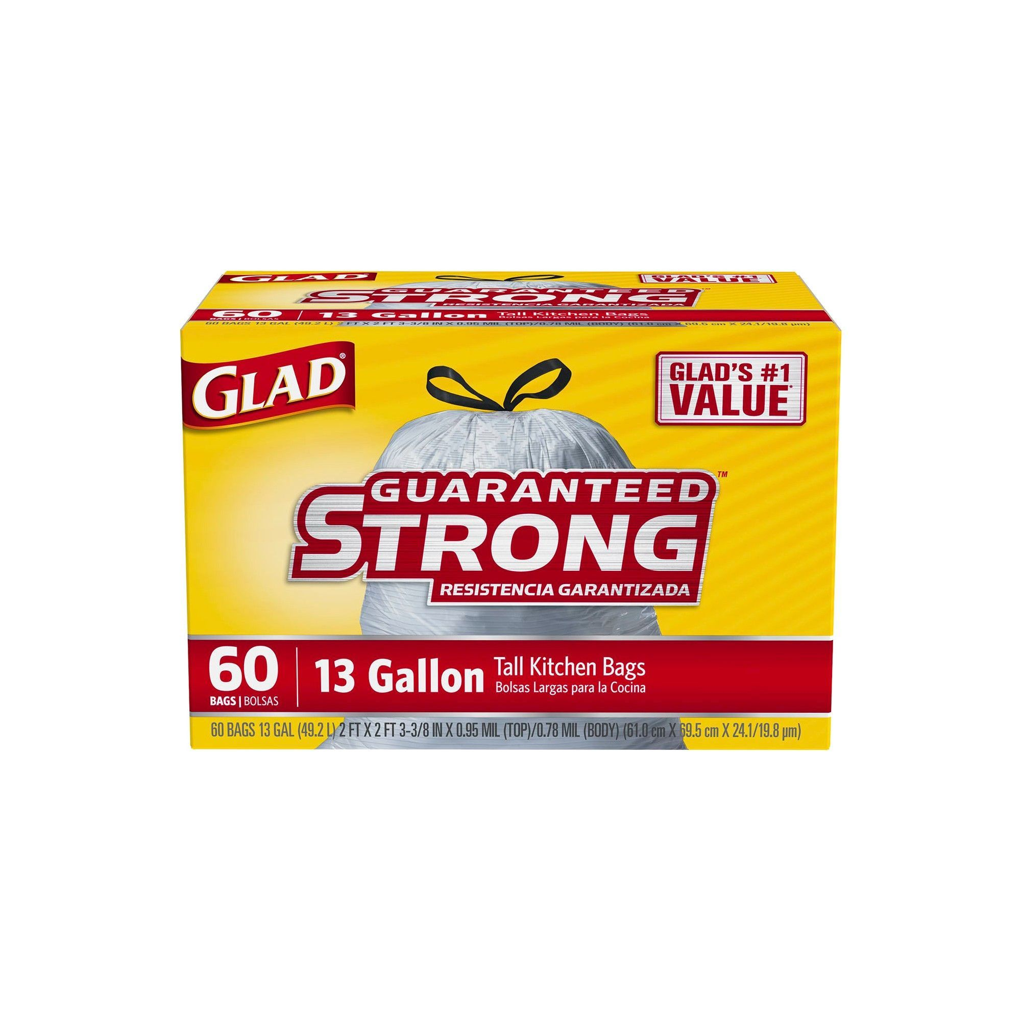 glad tall kitchen drawstring trash bags 5 piece table sets 13gal 60ct bag and 13 gallon