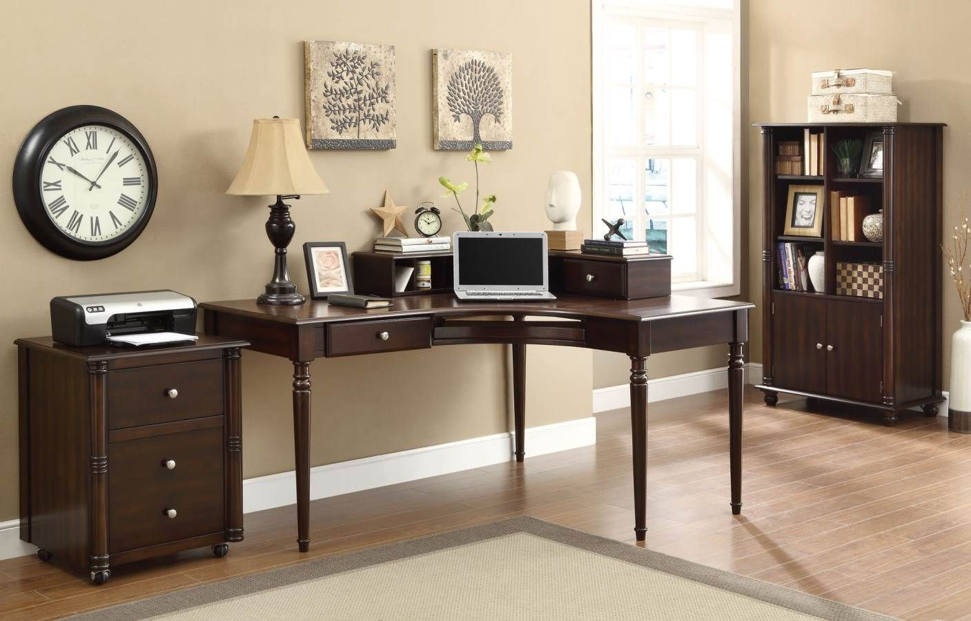 Jacqueline Cappuccino Wood Cabinet Home Office Furniture Sets