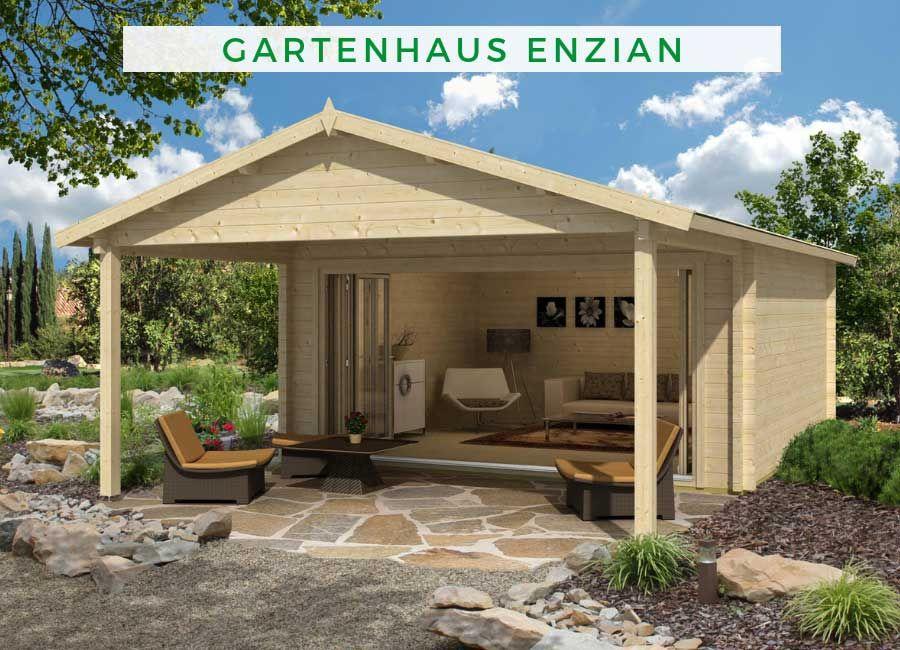 Gartenhaus Enzian70 mit Vordach Premium Gartenhaus
