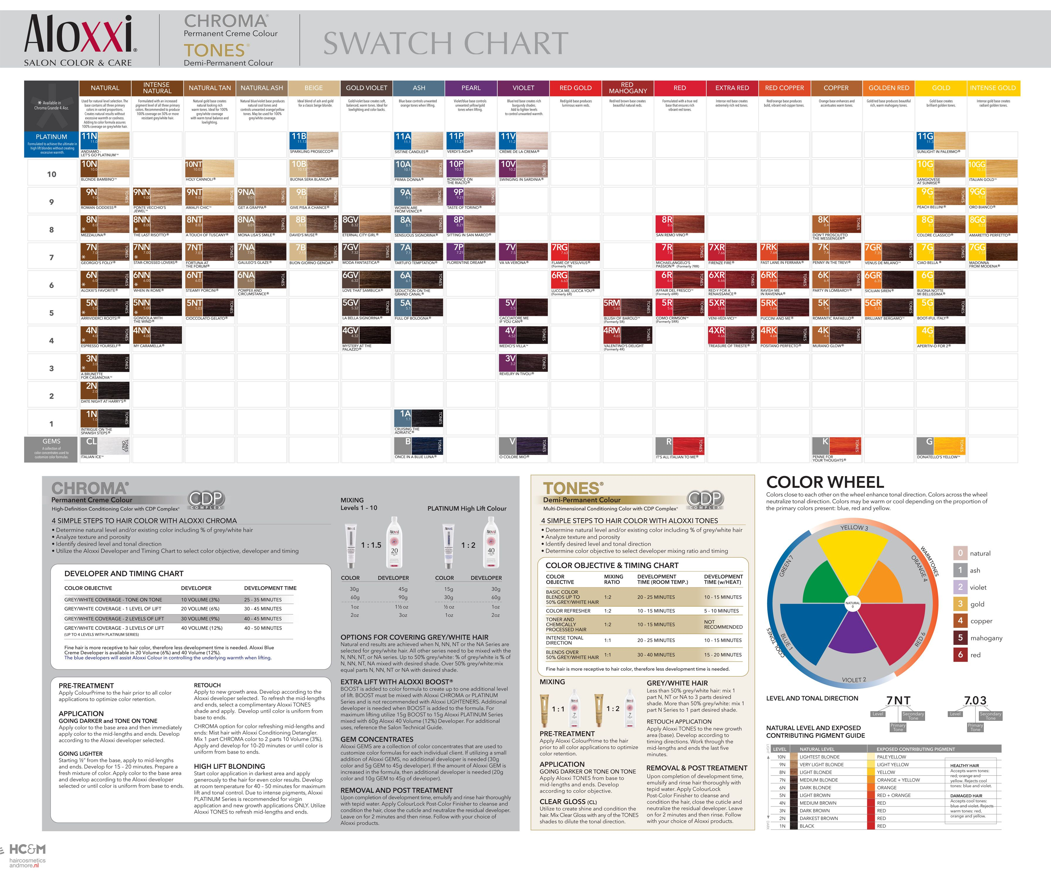 Aloxxi chroma tones swatch chart 2014 twenty three in 2018