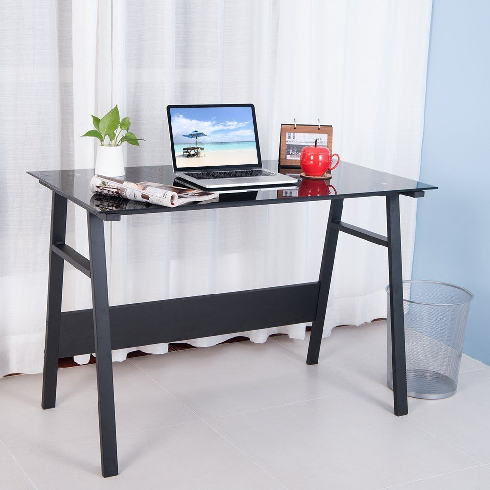 office desk workstation. Life Carver Home Office Desk Compact Black Glass Computer Workstation Table Study Laptop Desktop Table: