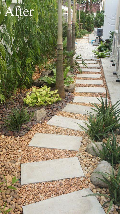 Creative Landscape Idea For A Narrow Space Pebble Garden