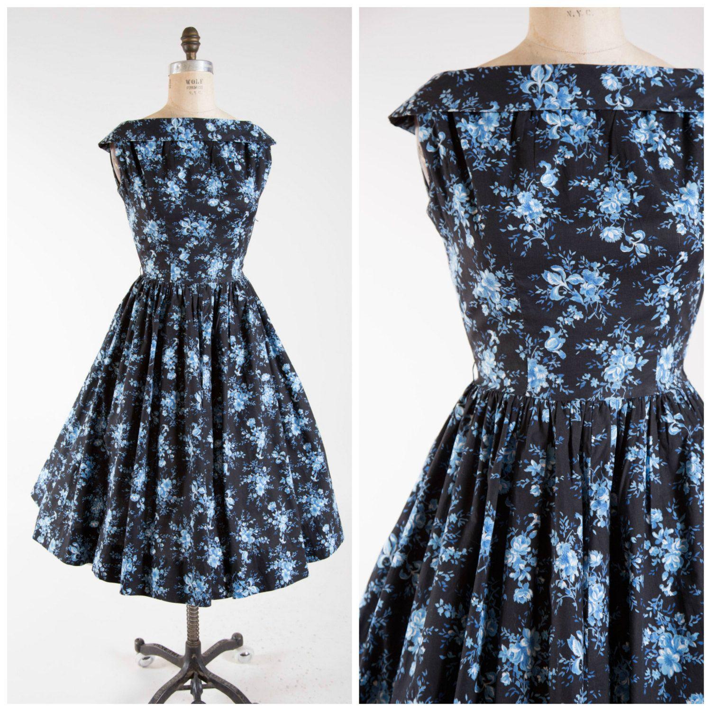 1950s Vintage Dress Bold Black Blue Floral Print Cotton Vintage 50s Shirtwaist Dress Size Small by stutterinmama on Etsy