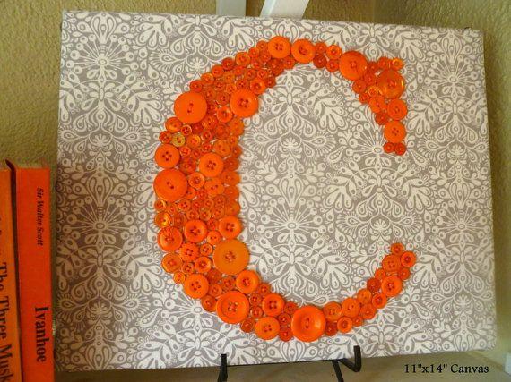 Vivero naranja botón carta pared arte arte por letterperfectdesigns