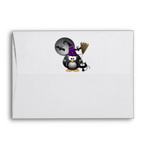 Cute Witchy Penguin with Halloween Scene Envelopes