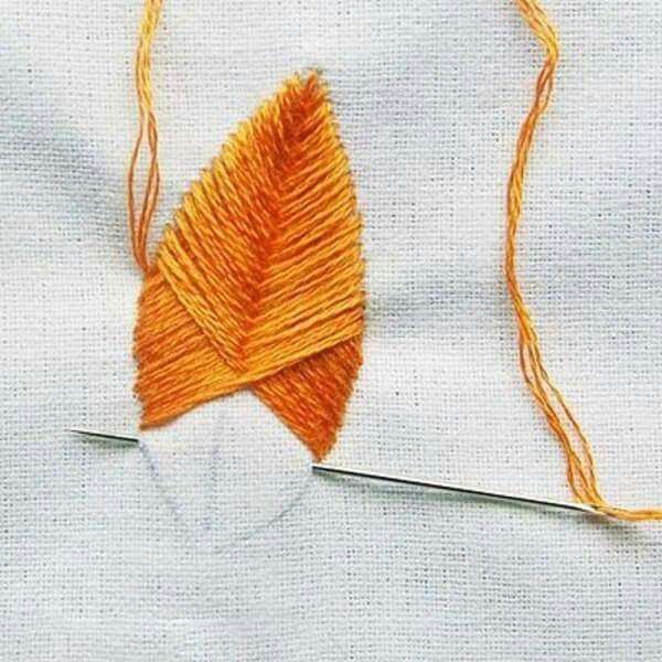 Embroidery stitches leaf stitching satinstitch