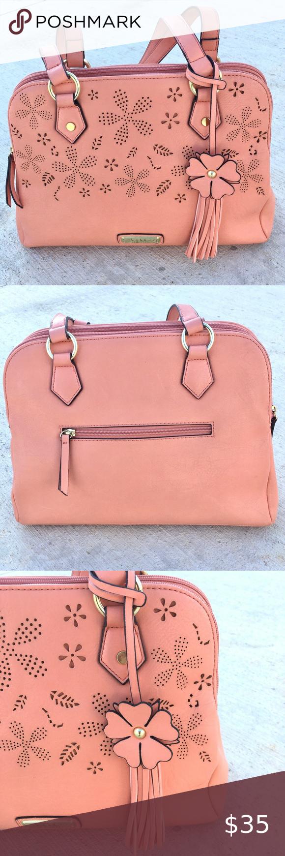 NICOLE MILLER Handbag shoulder peach coral floral GREAT