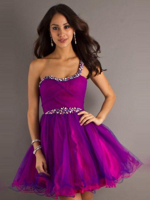 Púrpura A-line Corto/Mini One Shoulder Abalorio Gasa Dress por € 595 ...