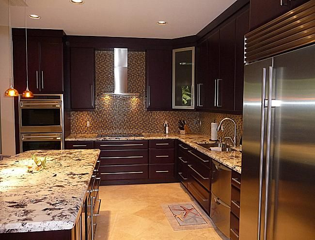 Pleasure In The Kitchen Cabinets Miami Darkbrown Kitchen Cabinet Miami Exclusive Kitchen C Kitchen Design Countertops Kitchen Design Dark Wood Kitchen Cabinets