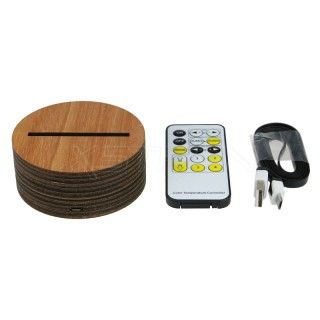 Wooden Led Base 7 Rgb Lights Usb Charging Ir Remote Control For 3d Acrylic Panel Tdl Ws Led Lights Led Light Projects Lamp Bases