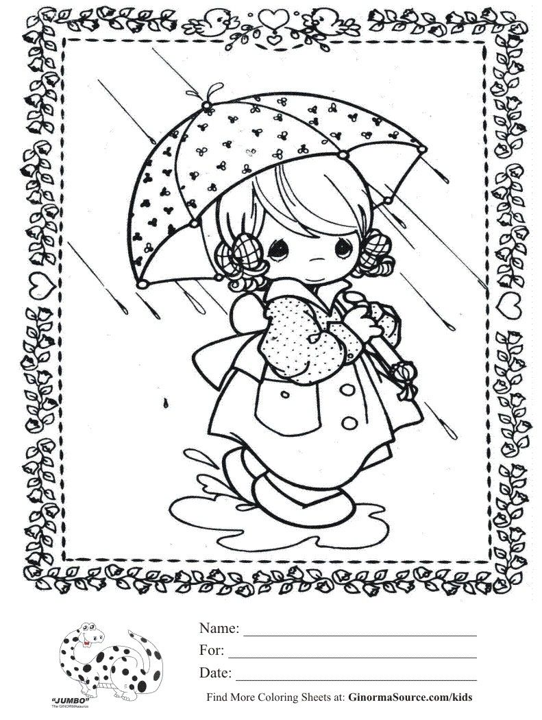 kids coloring page precious moments Rainy Day Girl with Umbrella ...