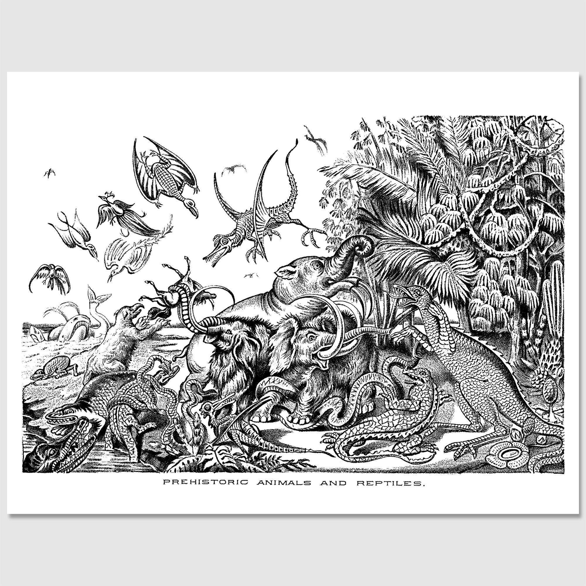 Printable Adult Coloring Page Prehistoric Animals & Reptiles Victorian Dinosaurs Wooly Mammoth Pterodactyl Mastadon Dinosaur 8x5