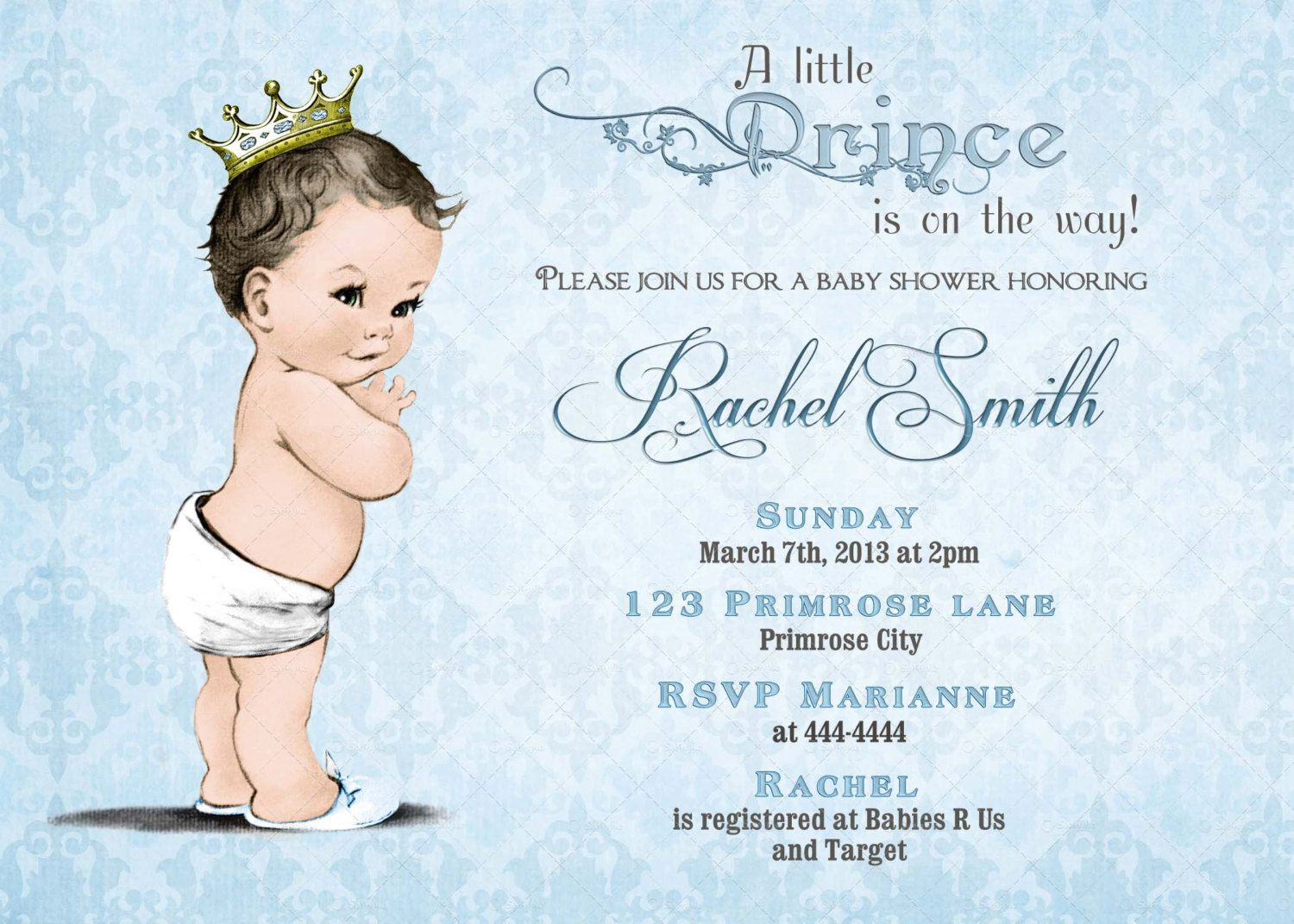 Blue Prince Baby Shower Invitation and FREE Thank You Card - Vintage ...