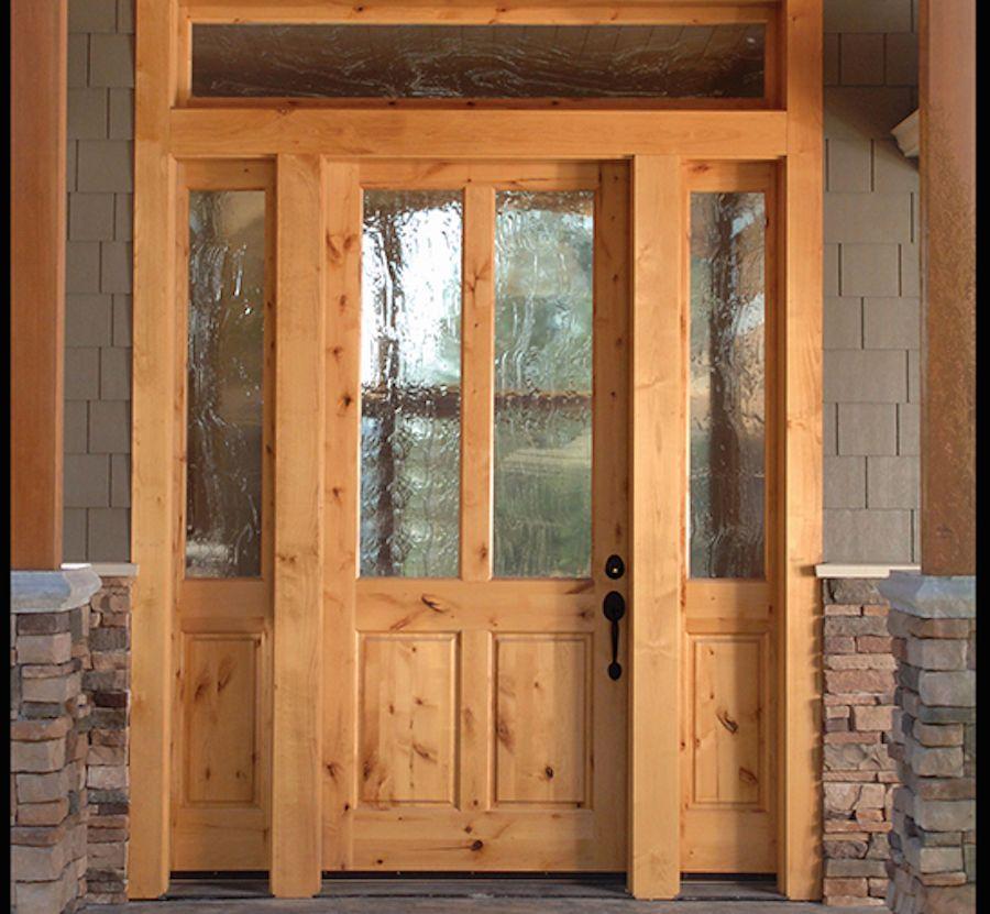 Solitude Style Knotty Alder 2 Lite Craftsman Entry Door With Side