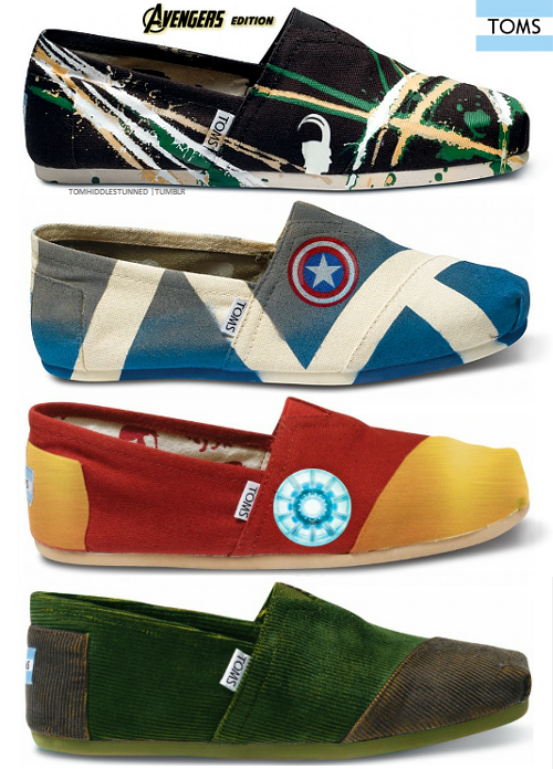 how did I not know about these? AVENGERS Themed TOMS! Go TOMS
