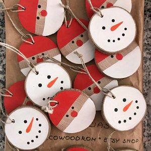 Snowman Rustic Ornament 5 pcs., Christmas Ornament, Decoration, Wooden slice Ornament