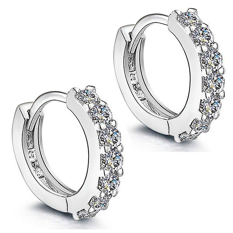 Meixao Sterling Silver Cross Stud Cubic Zirconia Earrings for Women 9bkn645WG