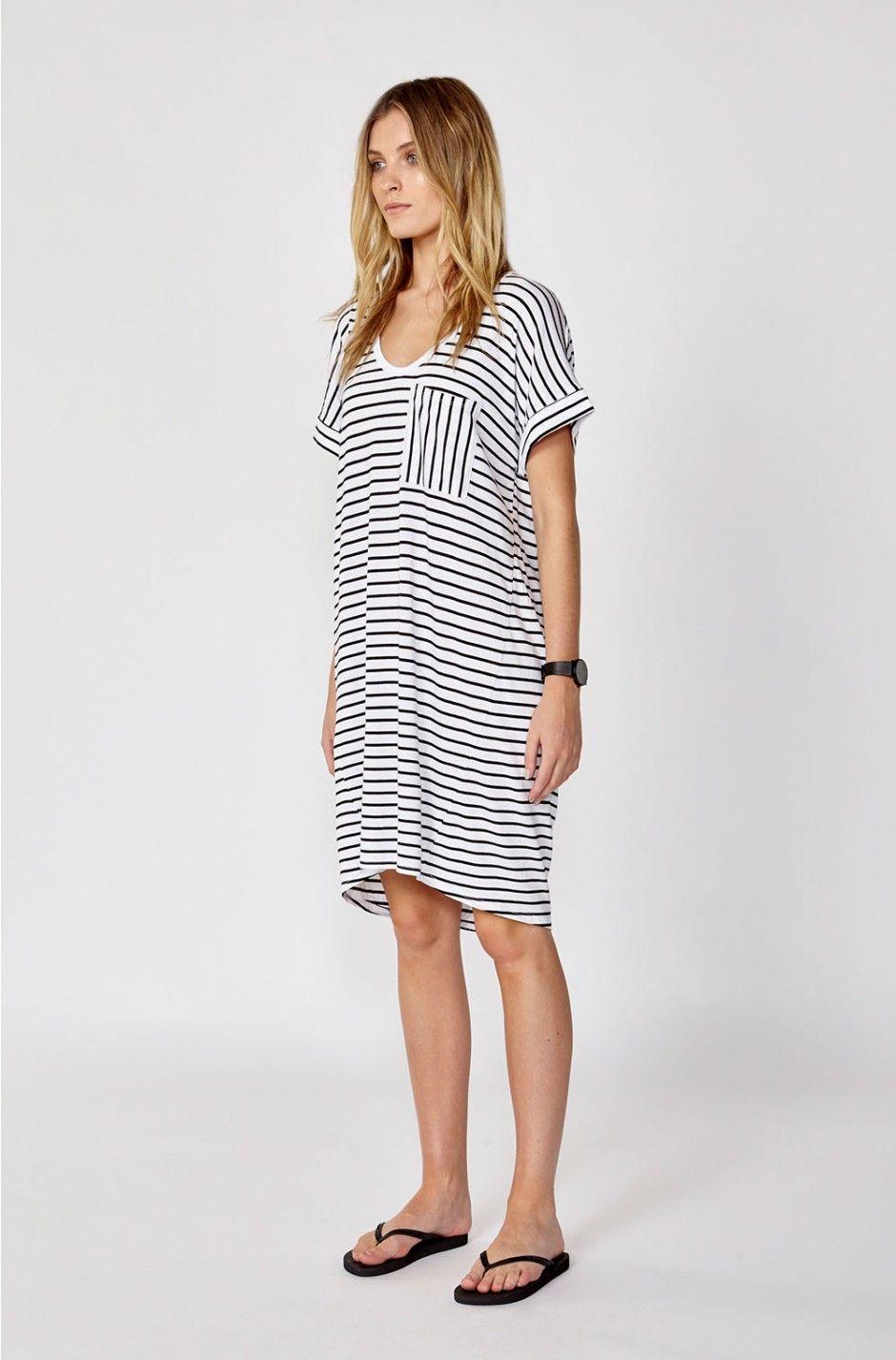 Luxe Boyfriend T Shirt Dress White Black Stripe Xs Dresses 7