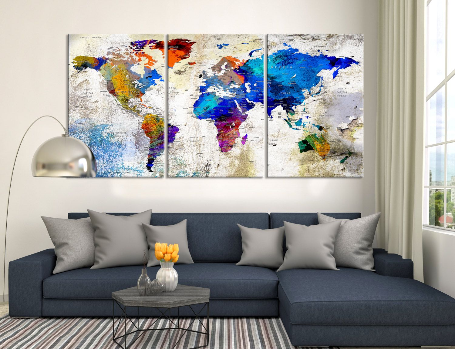 Push pin triptych wall art watercolor world map canvas print world push pin triptych wall art watercolor world map canvas print world map canvas print gumiabroncs Choice Image