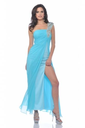 Sheath/Column One Shoulder Chiffon Tea-length Blue Pageant Dress With Split Front