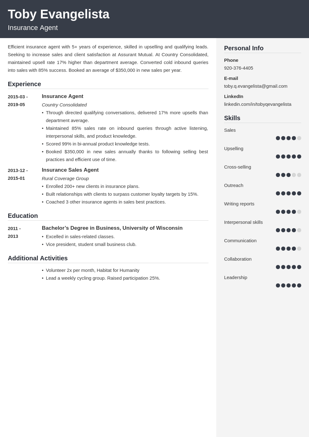 insurance agent resume example template cubic in 2020 | Resume examples, Server resume, Job ...