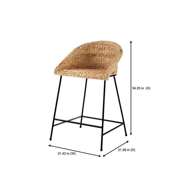 Stylewell Black Metal Counter Stool With Back And Natural Seat