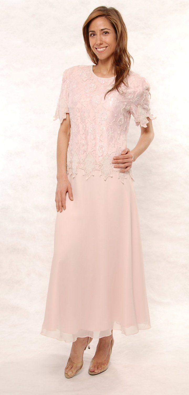 Mother of the Bride Great Tea Length Dress in Pink Plus & Missy ...