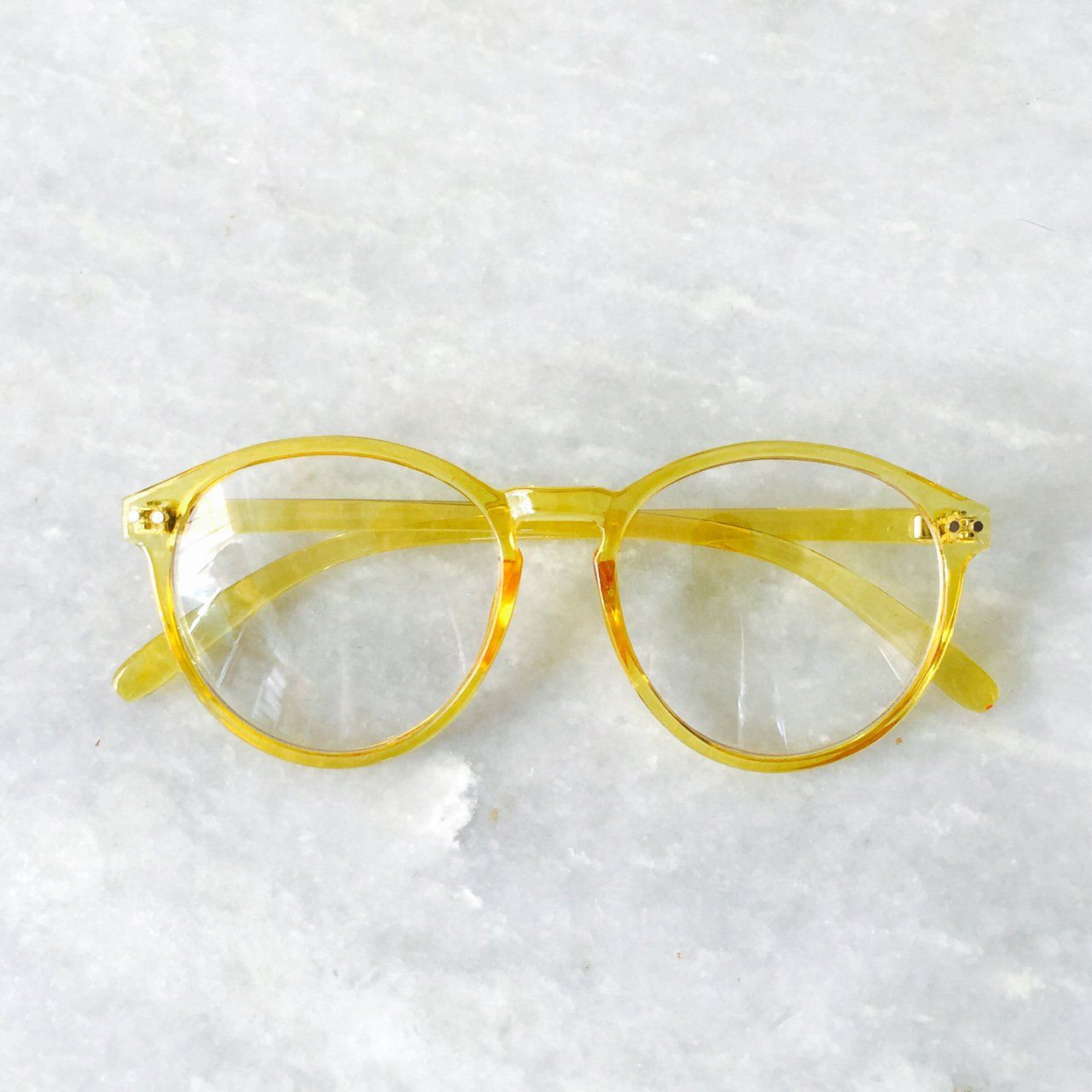 0e9ed1fa768f Retro Yellow Pantos Frame Clear Lens Glasses ⌛ Yellow Frame • Pantos Style  • Replaceable Lens • Retro Fit • Denim shorts • Basic Tee • Vans Shoes •  SENT ...
