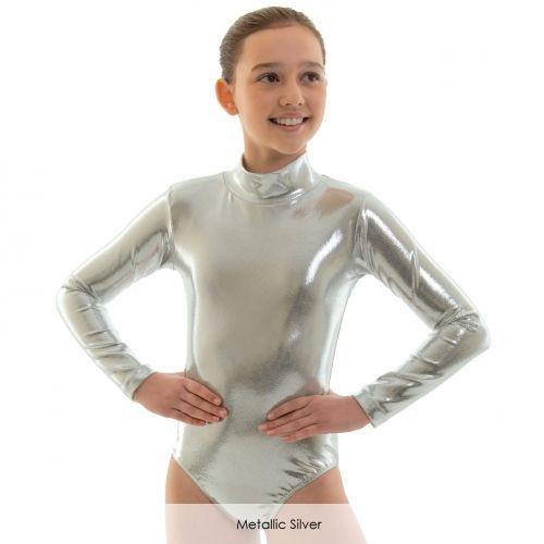 3c660f9c5f6c Kids Silver Long Sleeve Turtleneck Gymnastics Leotard Girls Ballet ...