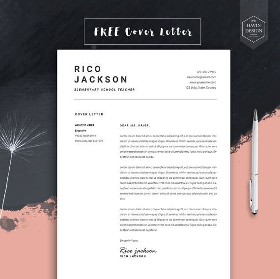Resume Template For Ms Word Cv Template With Free Cover Etsy Modele Cv Curriculum Vitae Cv Lettre De Motivation