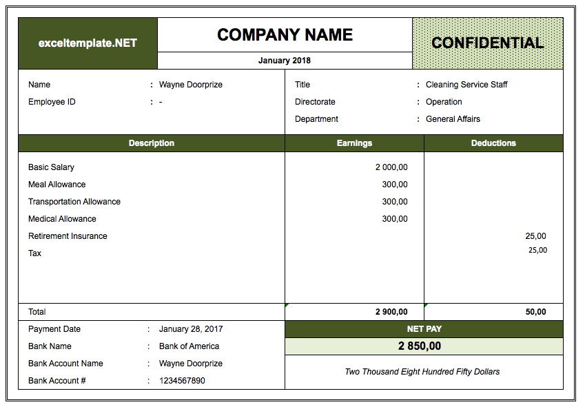Salary Slip Format In Excel Payroll Template Payroll Excel Templates