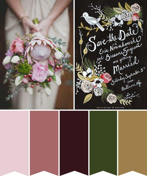 Wedding Color Palettes.Dark Romance A Botanical Inspired Colour Board Wedding