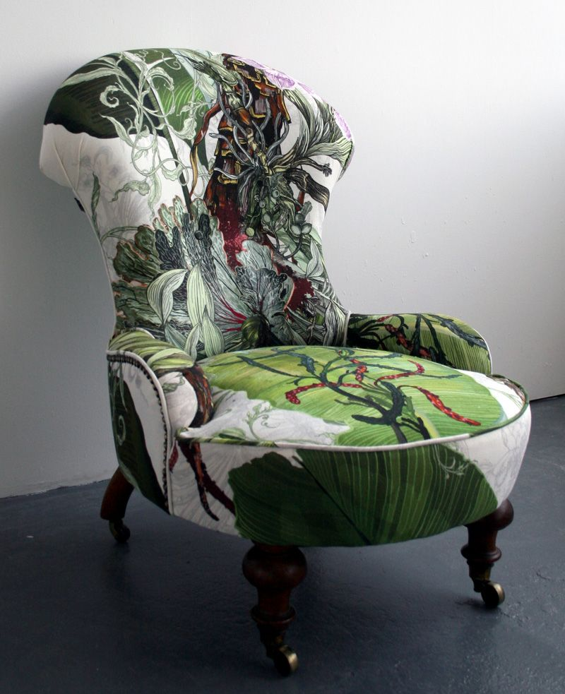 I'm in awe over these chairs, the fabric is just beautiful  Sadly these chairs are marked sold on Timorous Beasties website but luckily you can still purchase the fabric  Thier fabric selection is abs is part of Furniture -