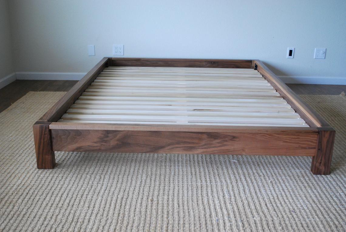 Low Profile Platform Bed In Black Walnut Twin Full Queen King California King Hardwood Bed Frame Simple Bed Hardwood Bed Platform Bed