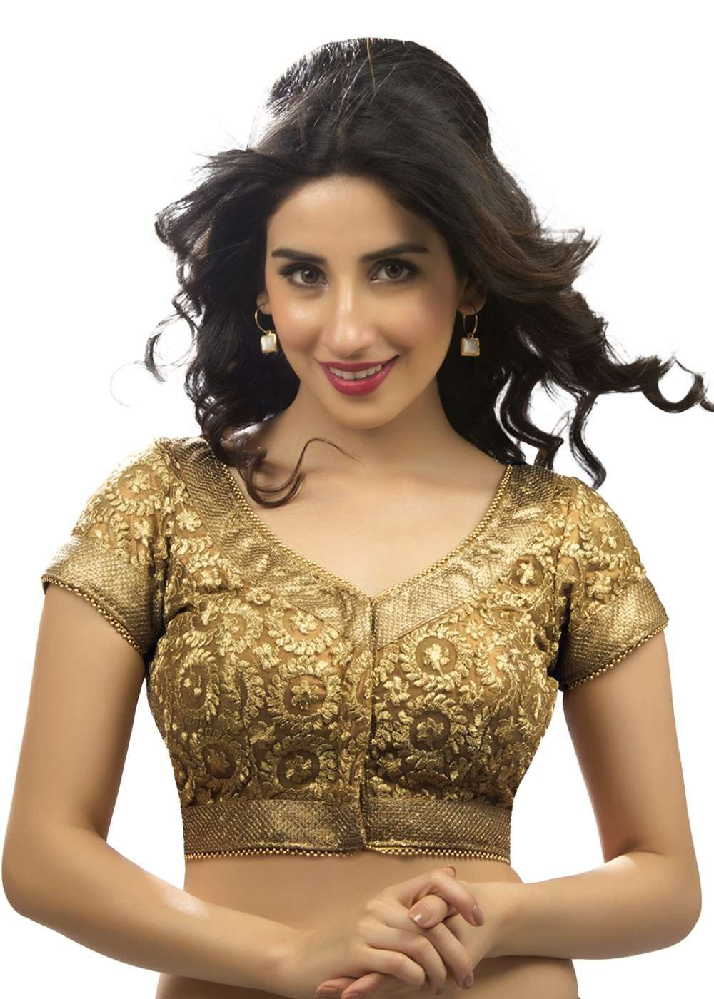 9fd691a8f8c6e Regal Copper Embroidered Party-Wear Saree Blouse SNT-X-238-SL ...
