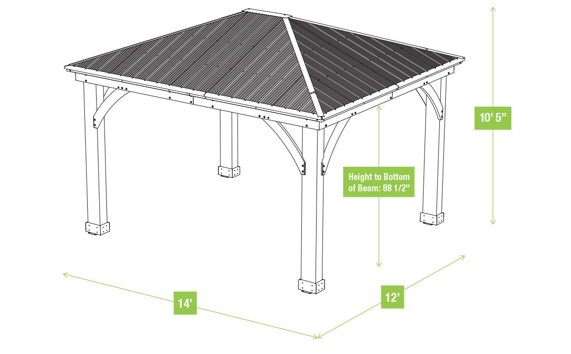 12 X 14 Wood Gazebo With Aluminium Roof Yardistry Structures Gazebos Pavilions And Pergolas In 2020 Gazebo Small Gazebo Aluminum Roof