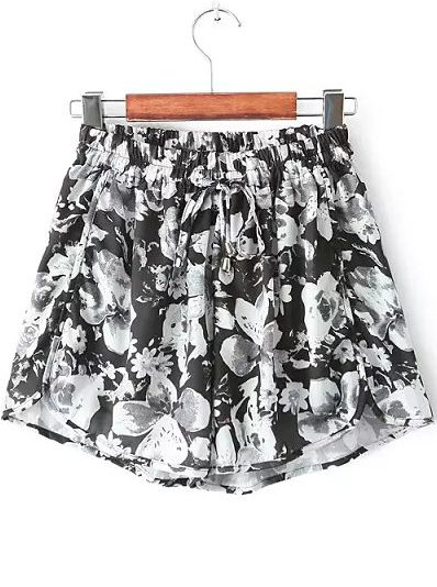 Black White Elastic Waist Floral Chiffon Shorts 15.00