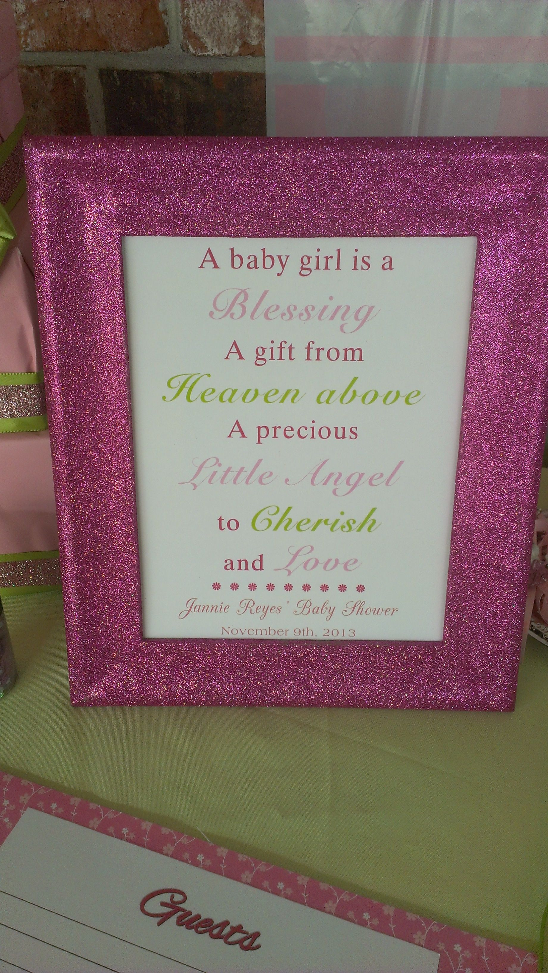 pink and green baby shower decor for girl. Bought frames from dollar ...