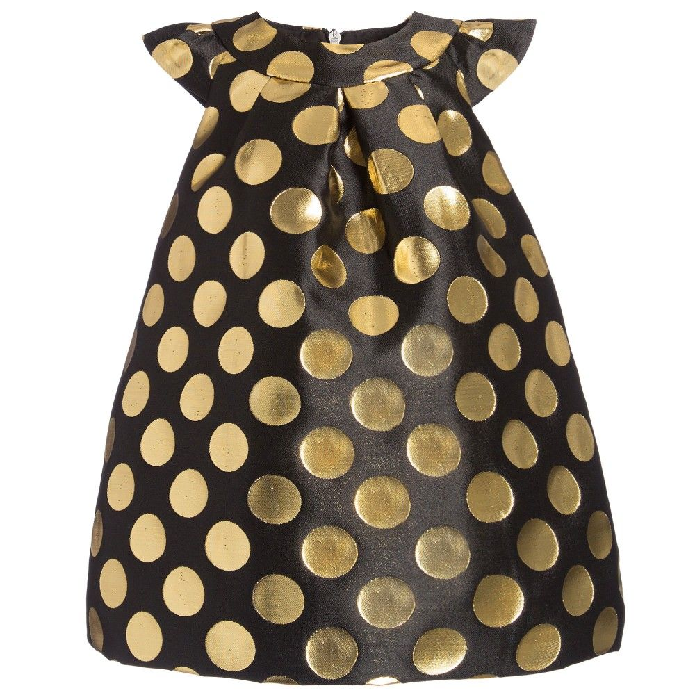 Black dress for baby girl - Baby Girls Black Jacquard Dress With Gold Spots