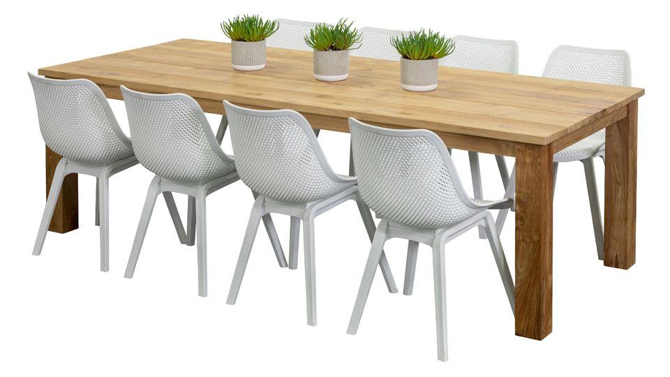 Bronte White 8 Seater Arya Teak Outdoor Dining Furniture Outdoor