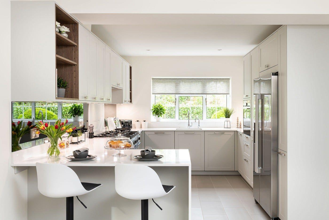 Ushape kitchen with a peninsula Shaker style