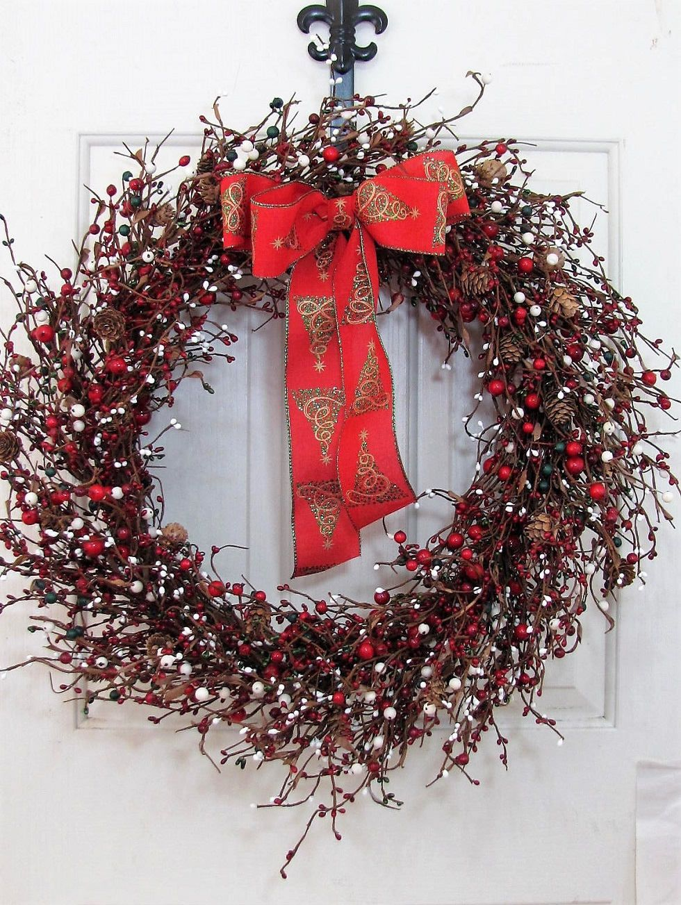 Large Wreath Christmas Berry Wreath Holiday Wreath Rustic Door