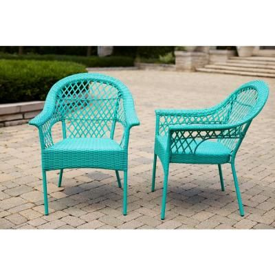 Hampton Bay Haze Stacking Patio Chair (2 Pack) D9544 D2   The Home Depot
