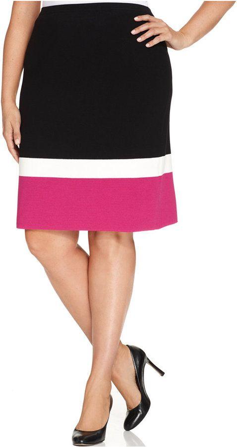 9c60a7af75d9b2 Jones New York Collection Plus Size Colorblocked Pencil Skirt | Plus ...