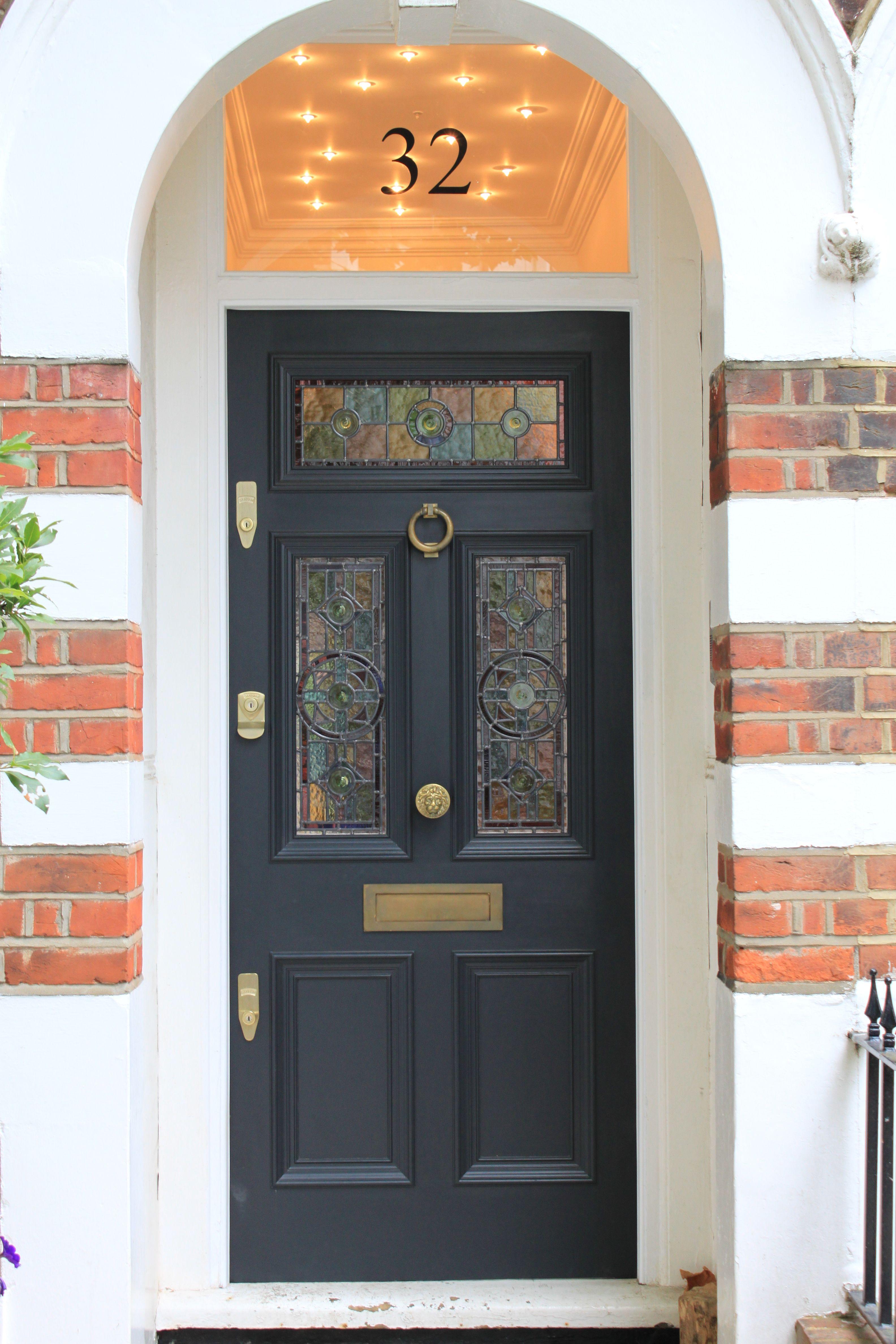 Gorgeous Leaded Light Front Door In Farrow Ball S Off Black Victorian Front Doors Stained Glass Door Grey Front Doors