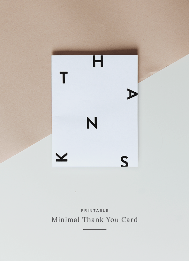 Printable Minimal Thank You Card Diy Bloggers Pinterest Thank