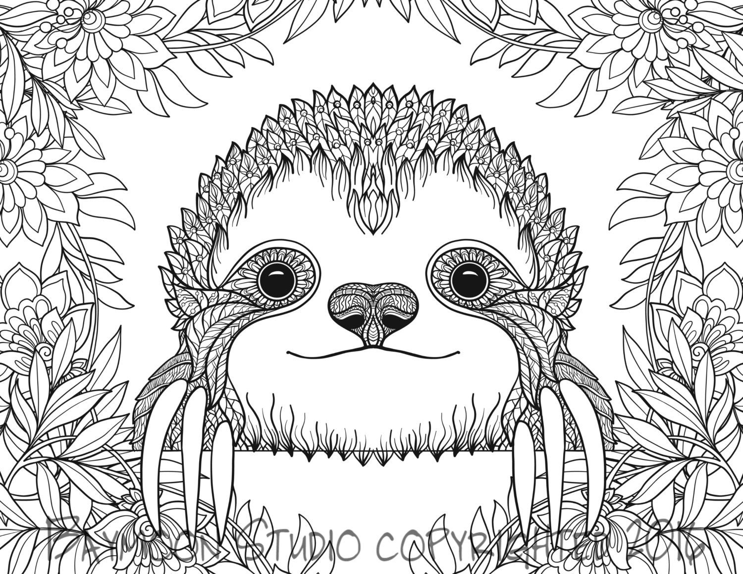 Pagina Para Colorear De Bebe Perezoso Perezoso Por Baymoonstudio Cute Coloring Pages Animal Coloring Pages Coloring Pages